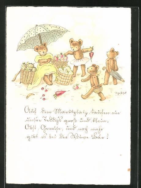 Künstler-AK Inge Schott: Auf dem Marktplatz kaufen ein uns're Teddys gross und klein...