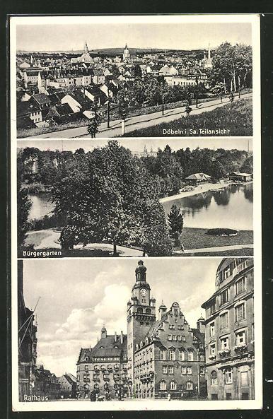 AK Döbeln i. Sa., Bürgergarten, Rathaus, Teilansicht