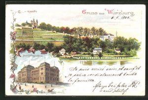 Lithographie Würzburg, Kapelle, Neues Collegienhaus, Teilansicht