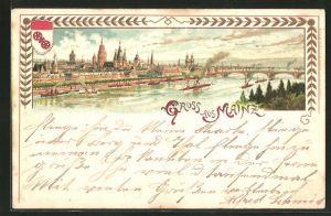 Lithographie Mainz, Totalansicht vom anderen Flussufer