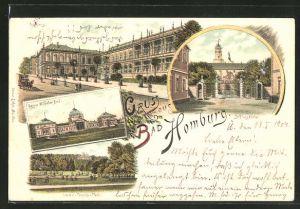 Lithographie Bad Homburg, Kaiser Wilhelm-Bad, Lawn-Tennis-Platz, Schlossportal, Kurhaus