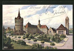 AK Worms, Wasserturm, Eleonorenschule und Lutherkirche