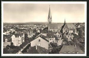 AK Giessen, Ortspartie mit Kirche aus der Vogelschau