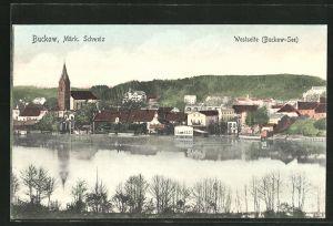 AK Buckow / Märk. Schweiz, Ortsansicht mit Buckow-See