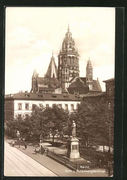 AK Mainz, Dom & Gutenbergdenkmal