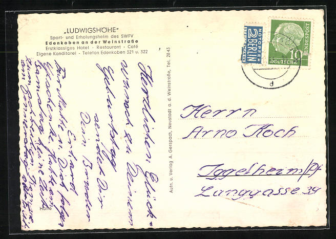 AK Edenkoben a. d. Weinstr., Gasthaus Ludwigshof, Innenansicht 1
