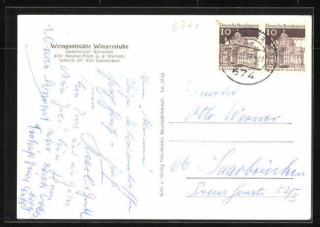 AK Weyher / Pfalz, Gasthaus Winzerstube der Geschwister Schreieck 1
