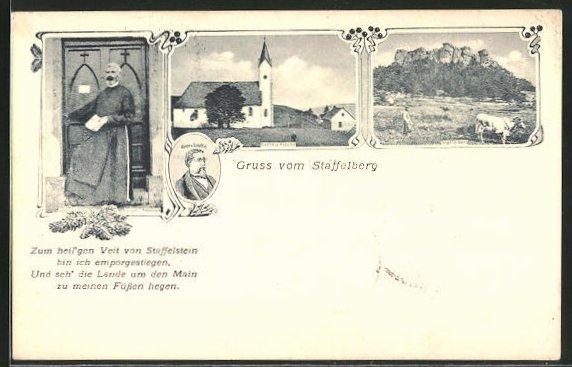AK Staffelberg, Kirche und Klause, Victor v. Scheffel Portrait, Bruder Antonius 0
