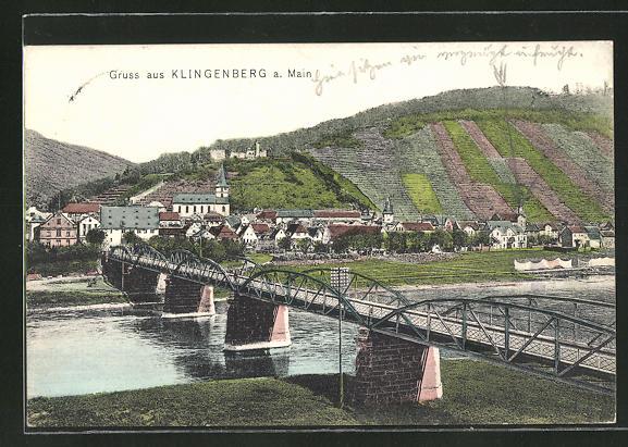 AK Klingenberg / Main, Ortspanorama mit Flussbrücke 0