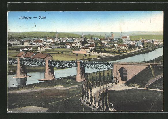 AK Kitzingen, Ortspanorama mit Flussbrücke 0