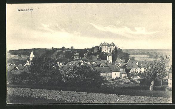 AK Gemünden, Ortsansicht mit Schloss