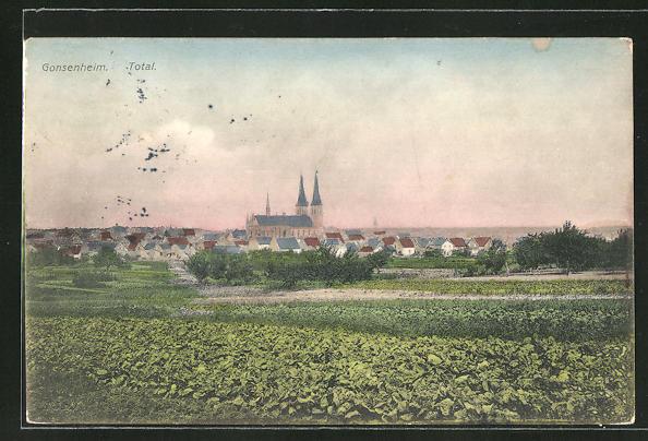 AK Gonsenheim, Ortspanorama mit Kirche