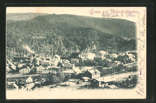 AK Rheingrafenstein, Ortsansicht mit Bahnhof aus der Vogelschau