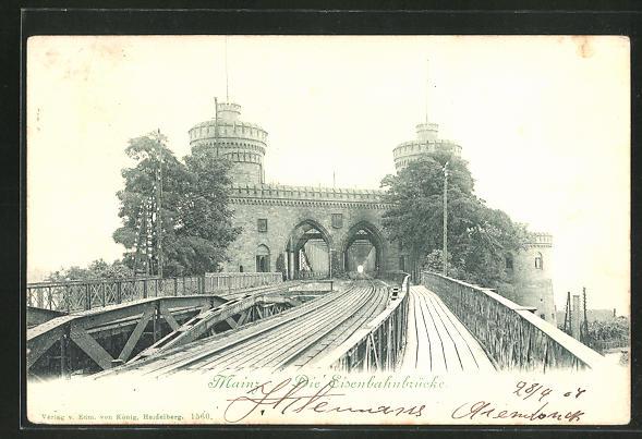 AK Mainz, Partie an der Eisenbahnbrücke