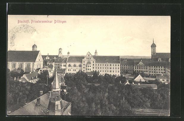 AK Dillingen a. D., Teilansicht mit Bischöfl. Priesterseminar aus der Vogelschau 0