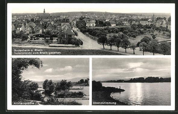 AK Budenheim / Rhein, Abendstimmung und Ortspartie am Rhein 0