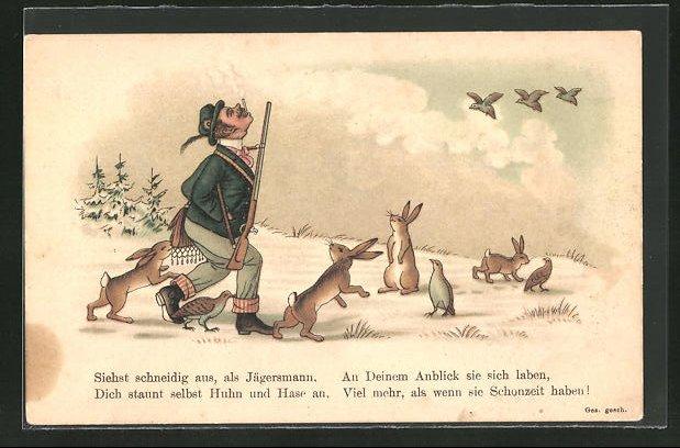 AK Jagdhumor, schneidiger Jägersmann wird von Wildtieren bewundert