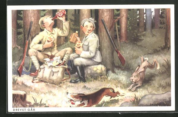 AK Jagdhumor, zwei Jäger beim Essen nach der Jagd, Hase verfolgt den Jagdhund