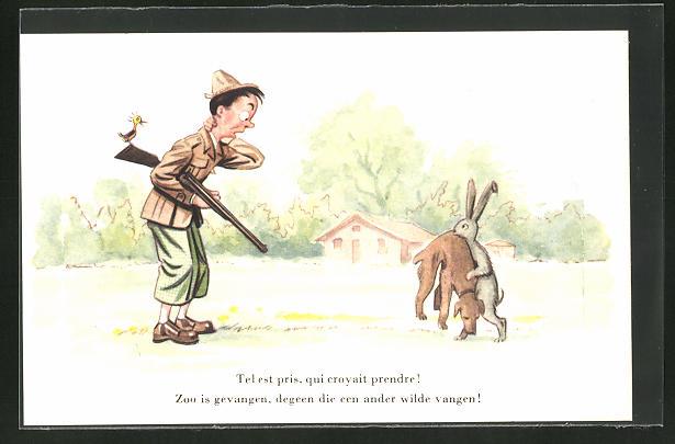 AK Jagdhumor, Hase trägt den erschöpften Jagdhund zum Jäger