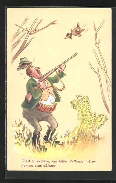 AK Jagdhumor, Jäger beim Abschuss eines Vogels