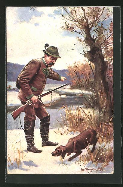 AK Jäger mit Jagdhund