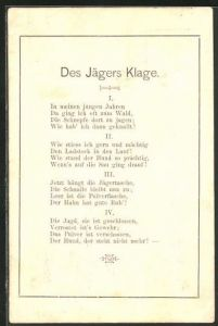 AK Des Jägers Klage. Gedicht