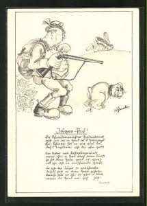 AK Jäger mit seinem kackenden Hund