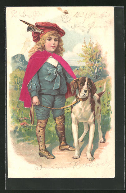 Präge-Lithographie Kind mit Jagdhund