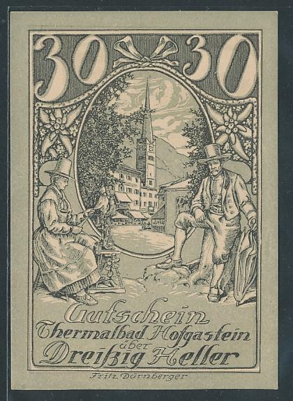 Notgeld Hofgastein 1920, 30 Heller, Dame spinnt Garn am Ortsrand, Postkutsche rückseitig, Entwurf: Fritz Dürnberger