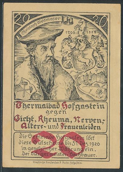 Notgeld Hofgastein 1920, 20 Heller, Portrait Christoph Weitmoser, Wappen, Kirche rückseitig, Entwurf: Fritz Dürnberger