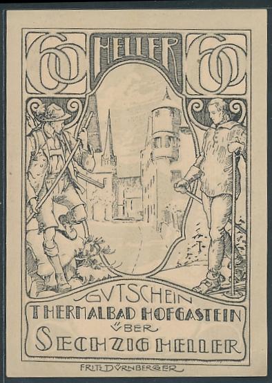 Notgeld Hofgastein 1920, 60 Heller, Strassenansicht flankiert von Skifahrer & Wanderer, Silhouette Frauen-Akt rückseitig