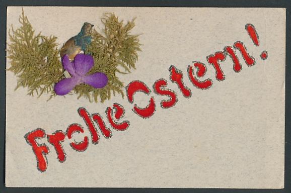 Trockenblumen-AK Vogel im Nest mit Trockenblume,