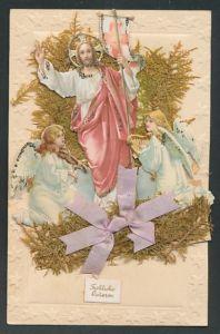 Trockenblumen-AK Jesus mit Heiligenschein und musizierenden Engeln, Trockenblumen mit lila Schleife,