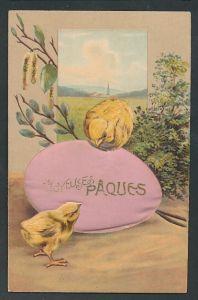 Seiden-AK Küken tummeln sich um ein grosses Ei,
