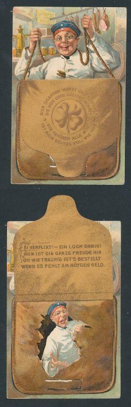 Lithographie Soldat mit brauner Tasche, Lasche lässt sich hochklappen und zeigt ein Loch in der Tasche