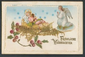 Trockenblumen-AK Jesuskind in einem Bett aus Trockenblumen, Engel wacht,