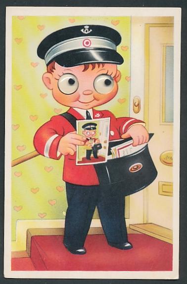 Glasaugen-AK kleiner Briefträger mit Postkarte seiner selbst