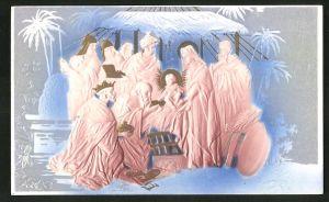 Präge-Airbrush-AK die heiligen drei Könige bei Jesu' Geburt