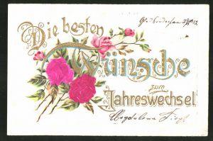 Stoff-Präge-AK die besten Wünsche zum Jahreswechsel mit Blumen, geprägt