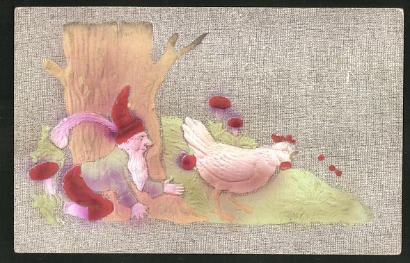 Präge-Airbrush-AK Zwerg stiehlt einem Huhn die Eier