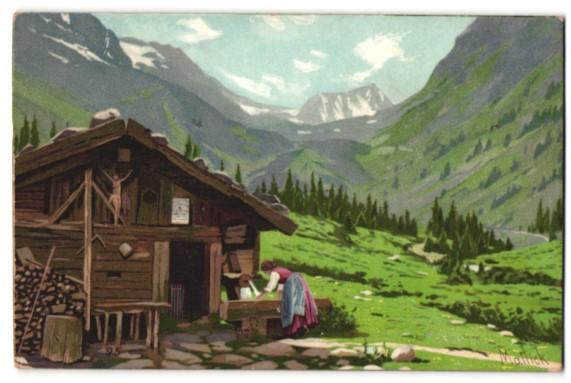 Künstler-Lithographie Alfred Mailick: Alpenidyll mit Berghütte