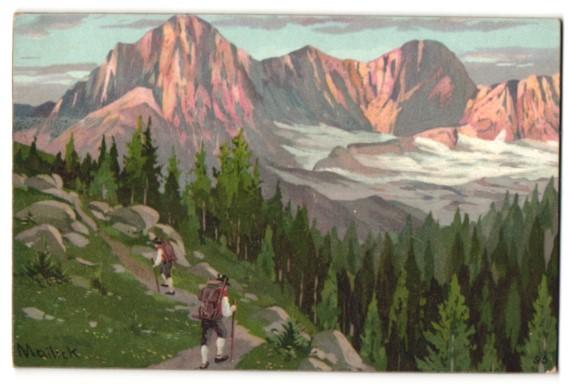 Künstler-Lithographie Alfred Mailick: Alpenidyll mit Bergsteigern