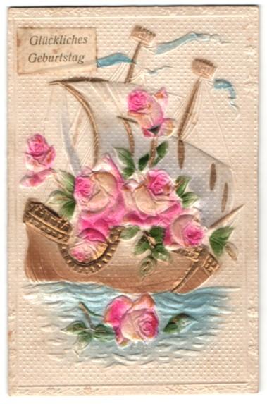 Präge-Airbrush-AK Segelschiff mit Rosen beladen, Geburtstagsgruss