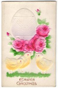 Präge-Airbrush-AK Easter Greetings, Osterei mit Rosen und Osterküken