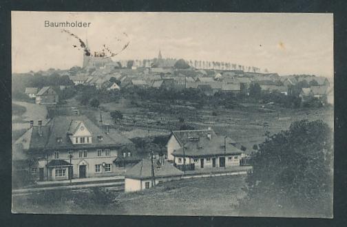 Mini-AK Baumholder, Bahnhof und Blick zum Ort