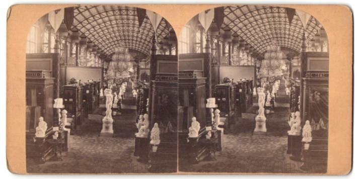Stereo-Fotografie Ansicht Wien, Weltausstellung 1873, Kunst-Pavillon Italien - Innenansicht