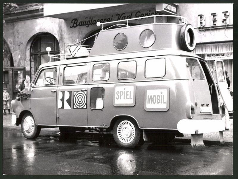Fotografie Kleinbus Opel Blitz - BR, Das Feuerrote Spielmobil aus einer ARD - TV Kinder-Sendung