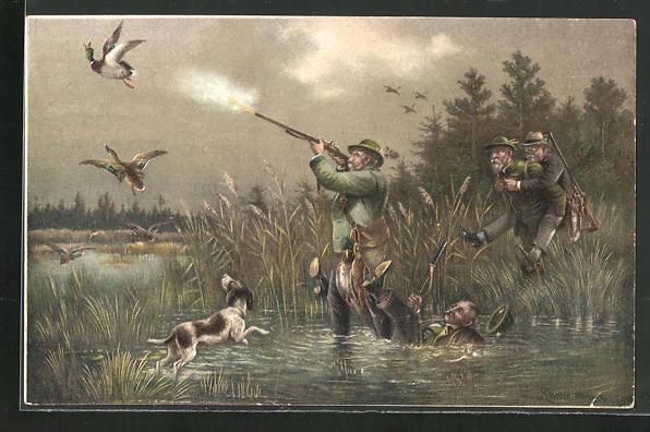 Künstler-AK M. Müller jun.: Jäger schiesst auf Enten