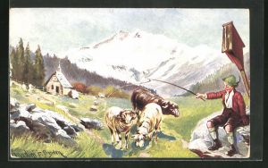 Künstler-AK Ermenegildo Carlo Donadini: Hirte mit Schafen in den Bergen