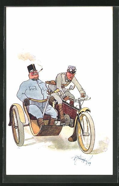Künstler-AK Fritz Schönpflug: Österreichischer General lässt sich im Motorrad mit Beiwagen chauffieren